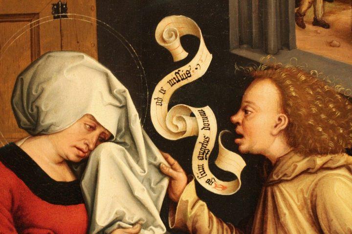 средновековна картина, двама души общуват, мъж и жена в средновековни одежди, убедителна комуникация
