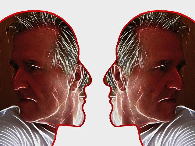 два мъжки профила един срещу друг, във вътрешността им стоят двама възрастни мъже, които са се обърнали на другата страна и не гледат събеседника в очите