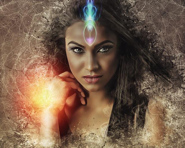 мистична картина изобразяваща жена с отворено трето око от което излиза бяла трептяща светлина, жена с широко отворени големи и красиви зелени очи гледа право към читателя